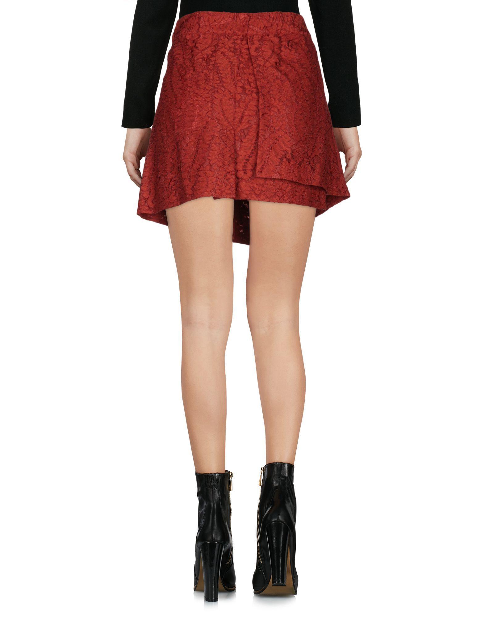No21 Brick Red Cotton Skirt