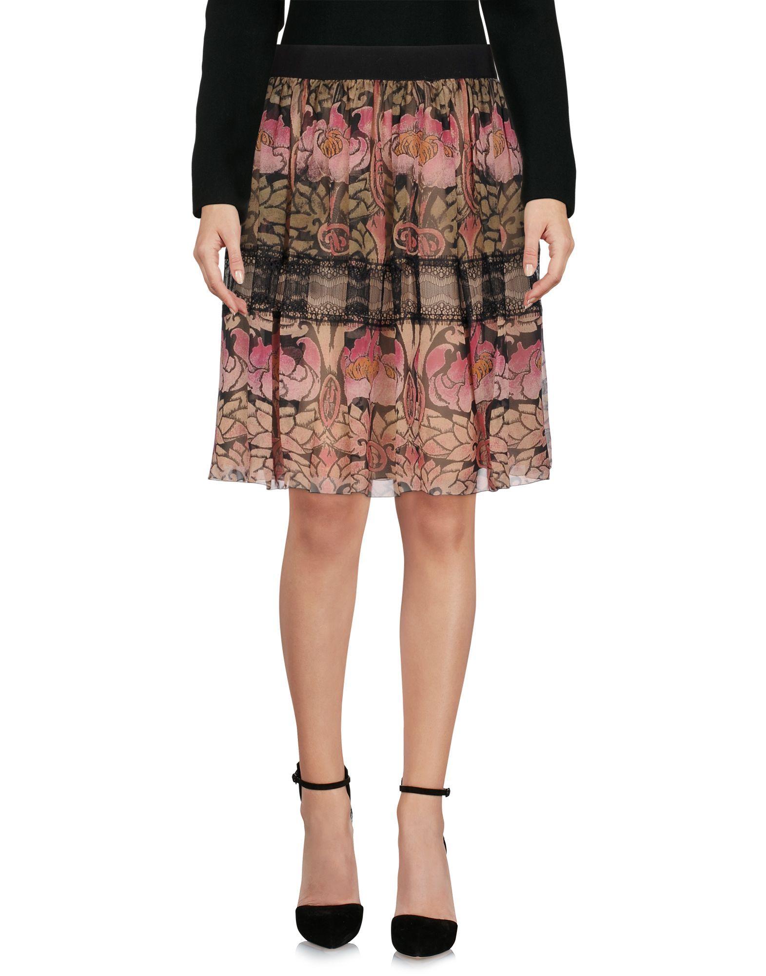 Alberta Ferretti Mauve Print Silk Knee Length Skirt