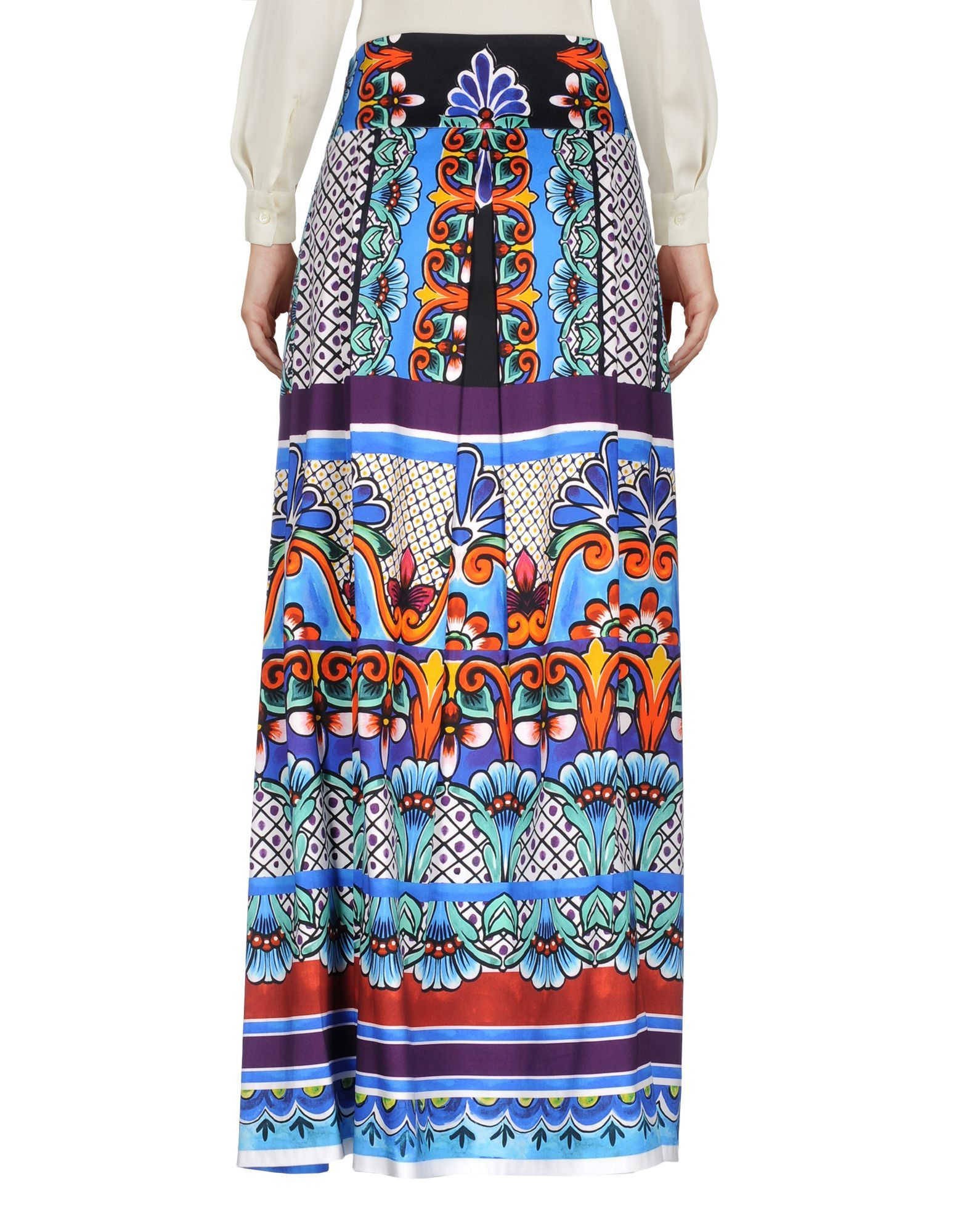 Alberta Ferretti Blue Print Cotton Full Length Skirt