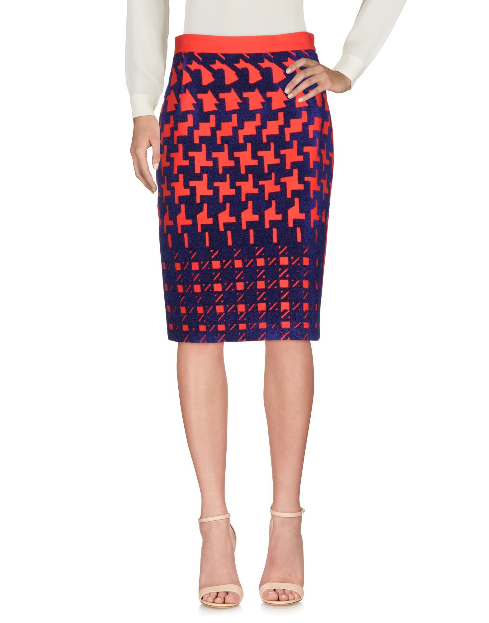 Mary Katrantzou Red Houndstooth Print Wool Skirt