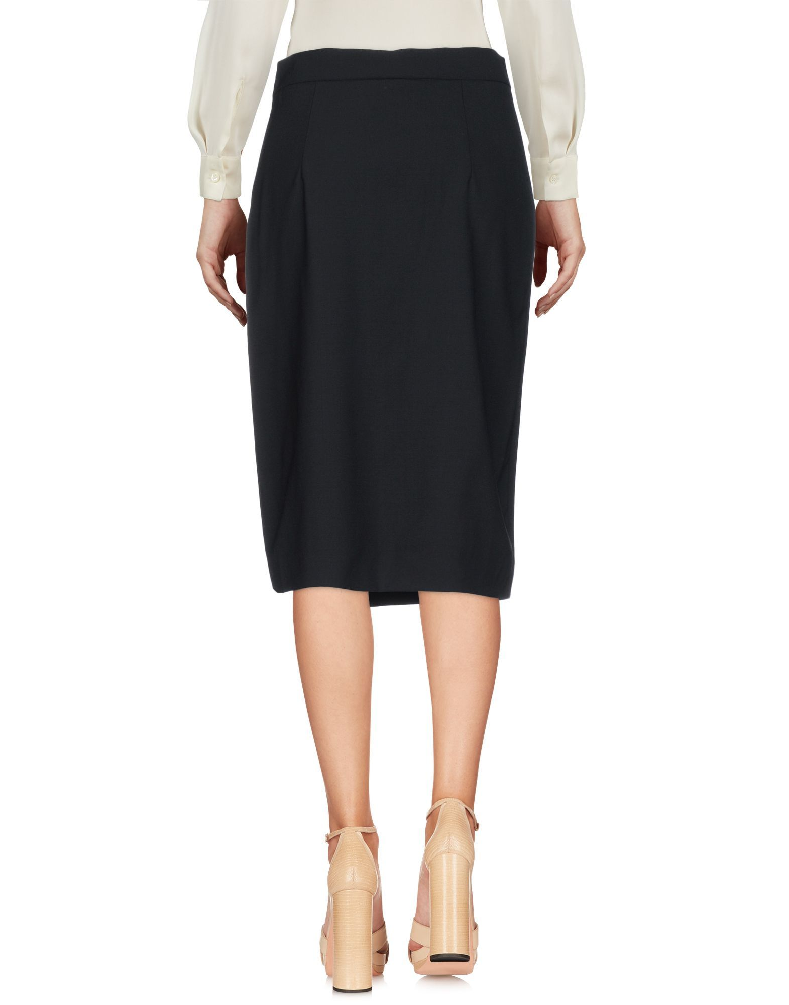 DKNY Black Wool Knee Length Skirt
