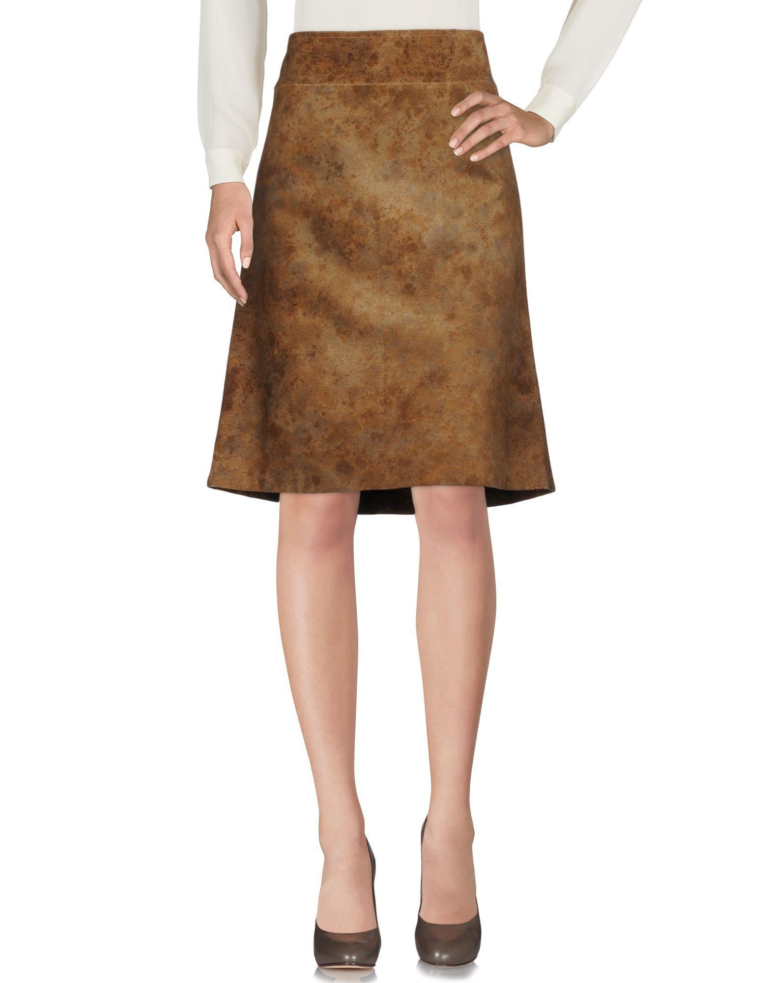 Costume National Khaki Leather Skirt