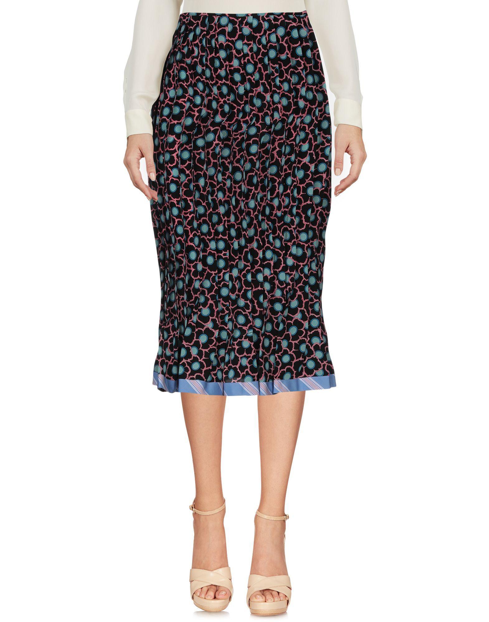 Marni Black Floral Design Silk Skirt