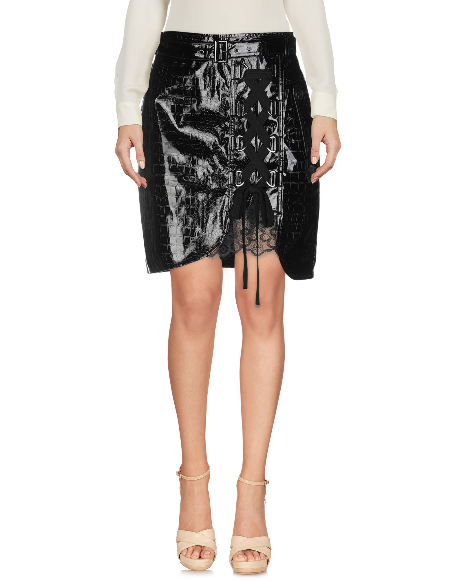 Self-Portrait Black Faux Leather Mini Skirt