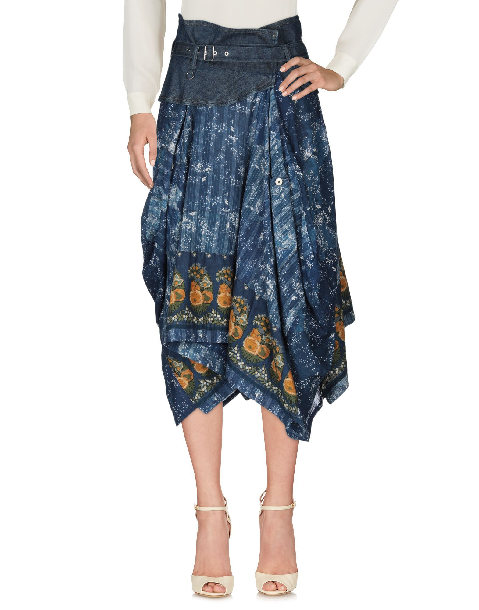 Skirt High By Claire Campbell Blue Women's Cotton
