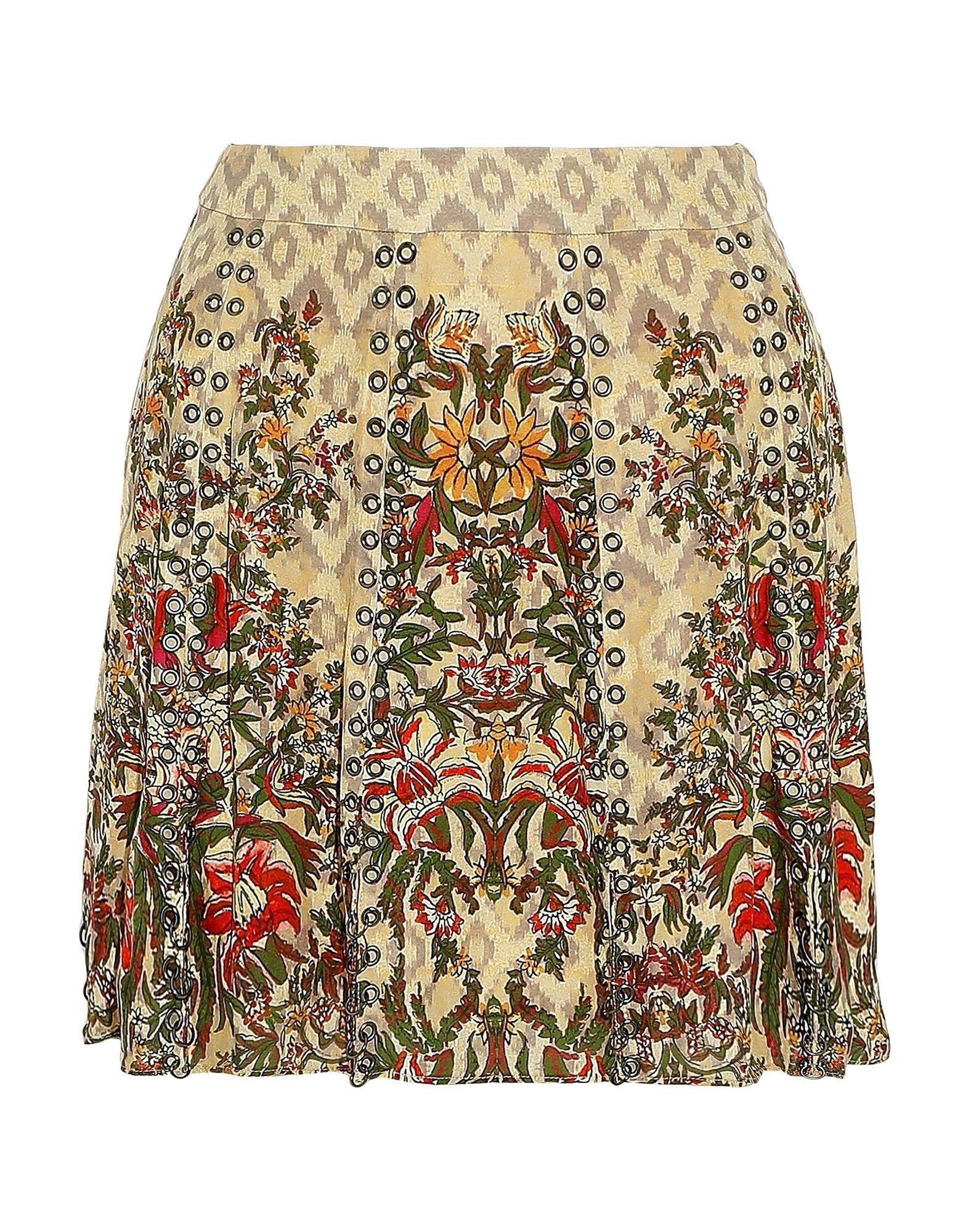Haute Hippie Sand Floral Design Silk Skirt