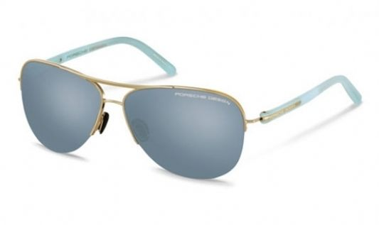 Porsche Oval metal Unisex Sunglasses Rose Gold / Shiny Blue