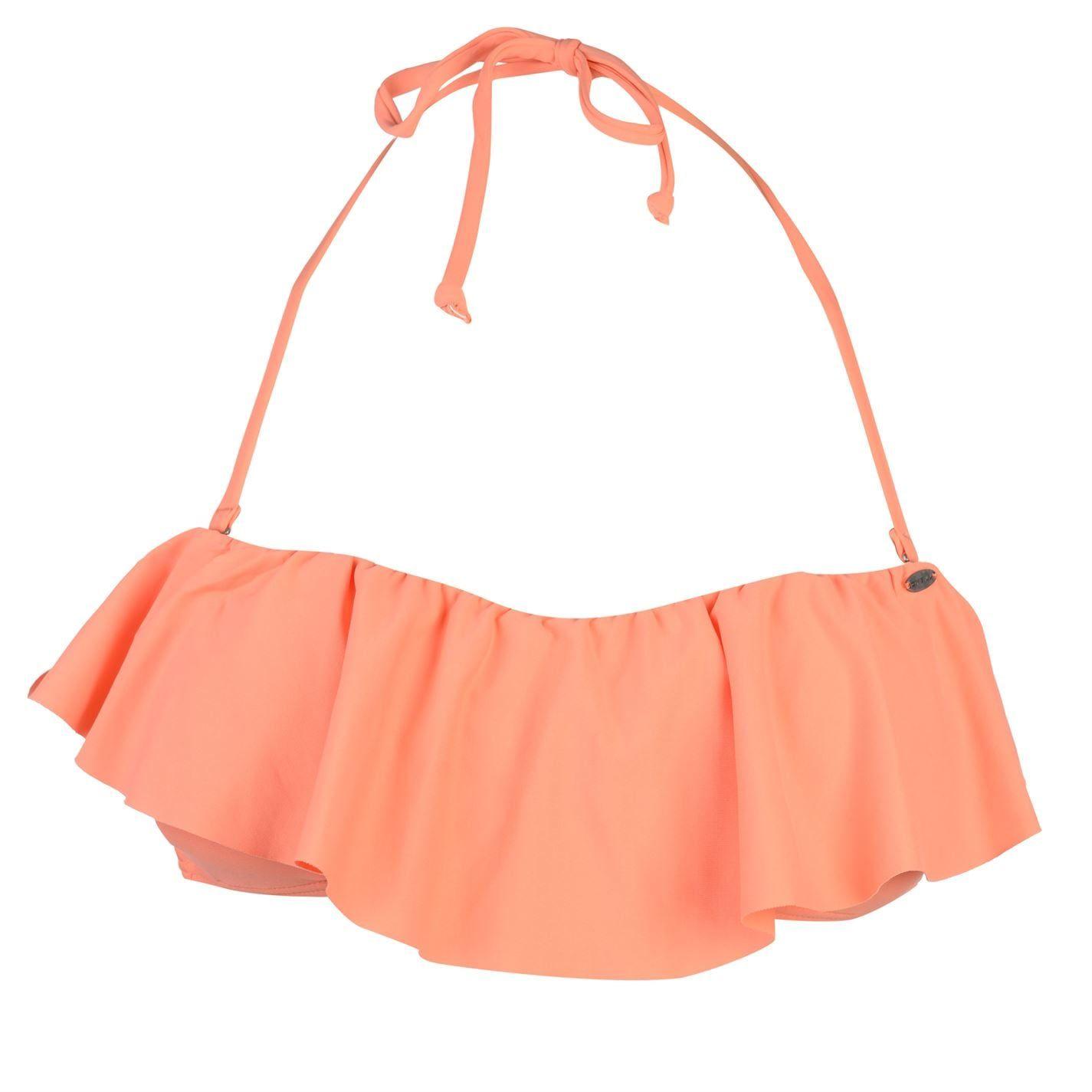 ONeill Womens Ruffle Bikini Top Ladies Bra Tie Fastening Swimwear Block Coloured