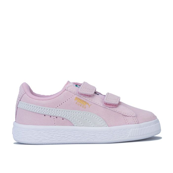 Girl's Puma Children Suede Strap Trainers in Pink