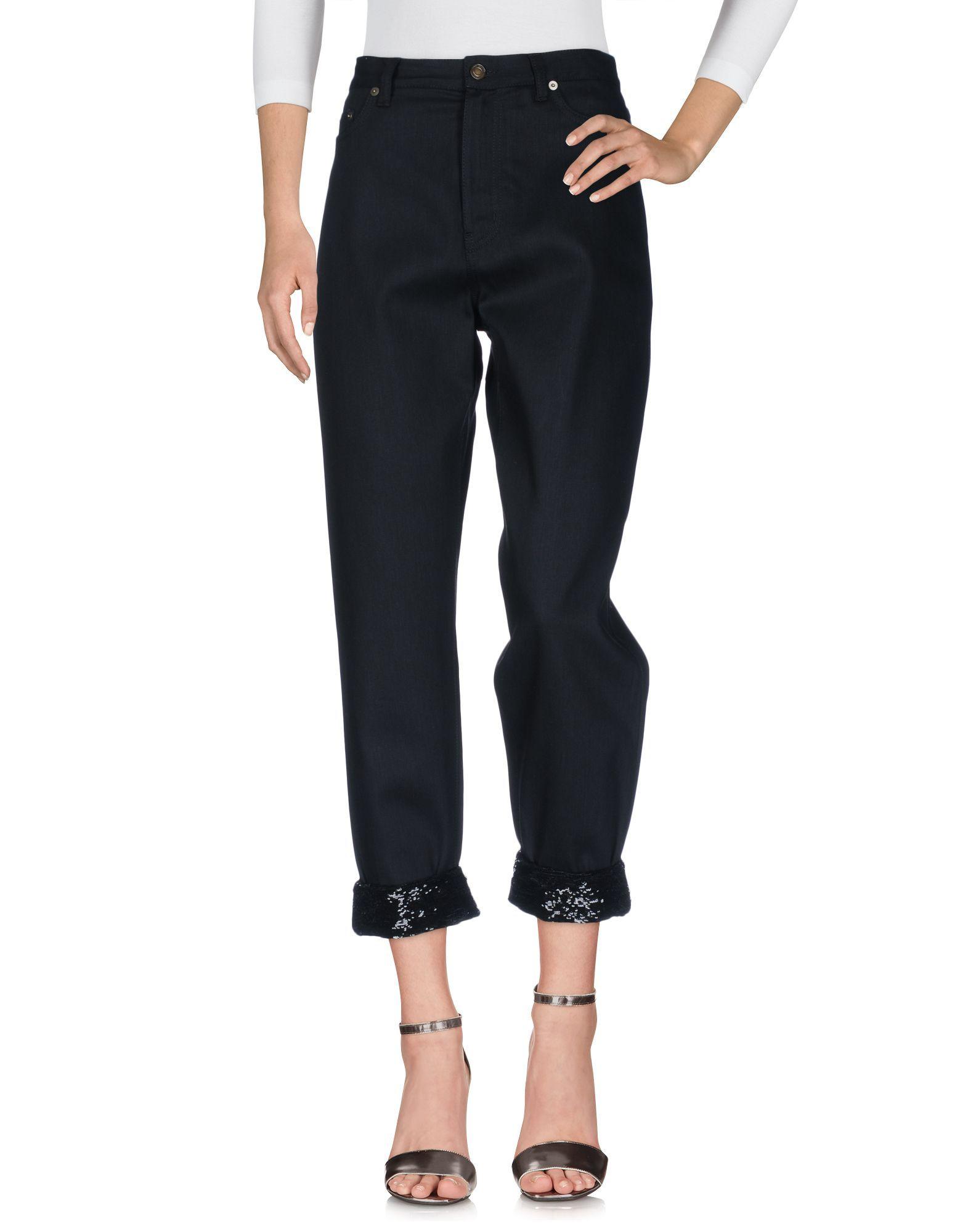 Saint Laurent Women's Denim Trousers Cotton