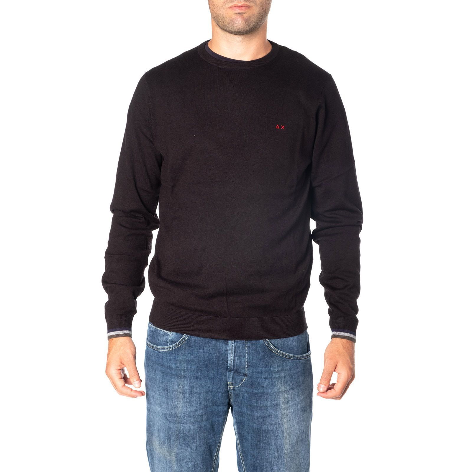 SUN 68 MEN'S K2911111 BLACK WOOL SWEATER