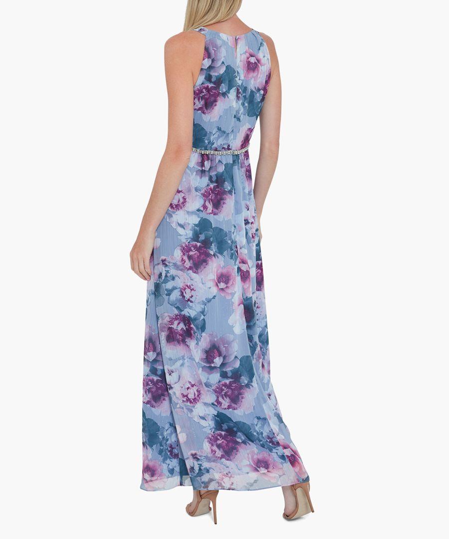 Sky kinia floral chiffon maxi dress