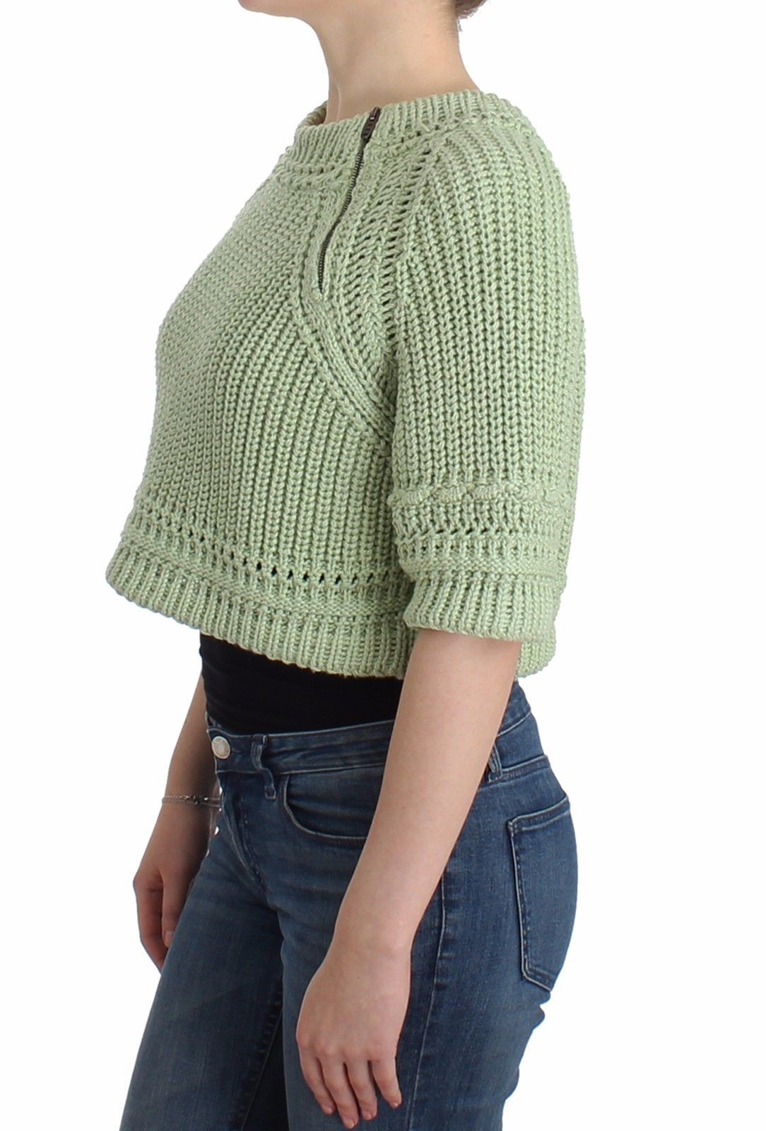 Ermanno Scervino Green Cropped Knit Sweater Knitted Jumper