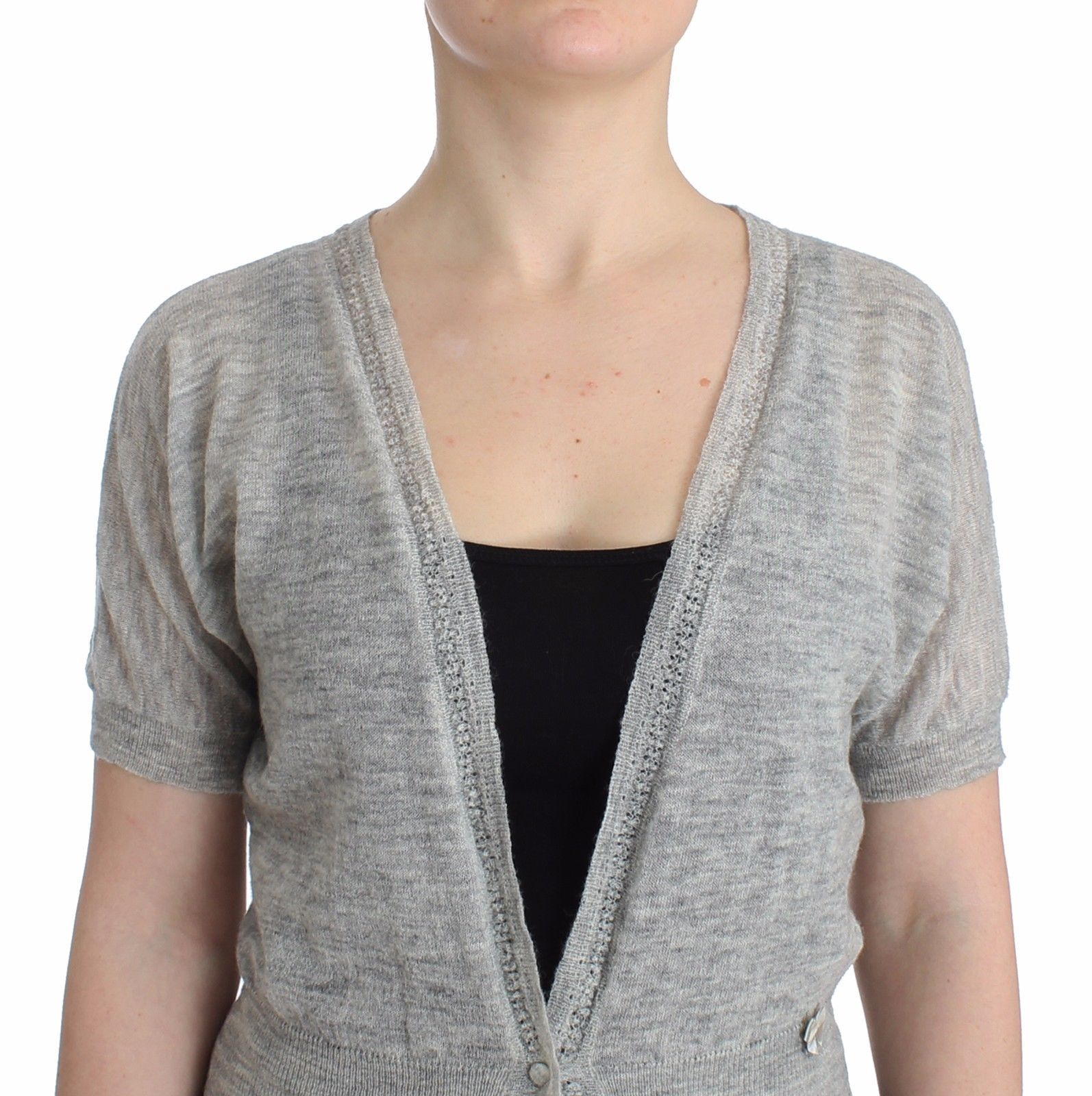 Ermanno Scervino Lingerie Knit Cropped Wool Sweater Cardigan