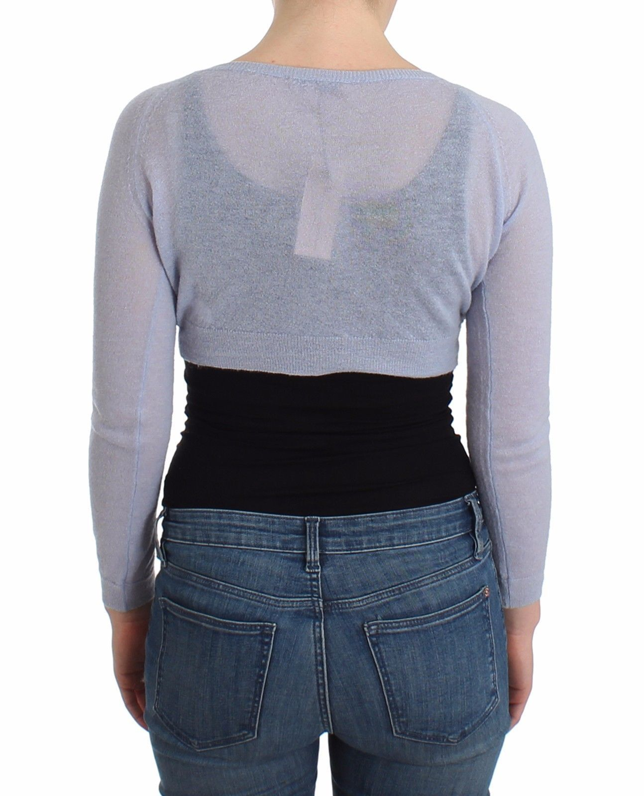 Ermanno Scervino Lingerie Blue Knit Cropped Sweater Cardigan