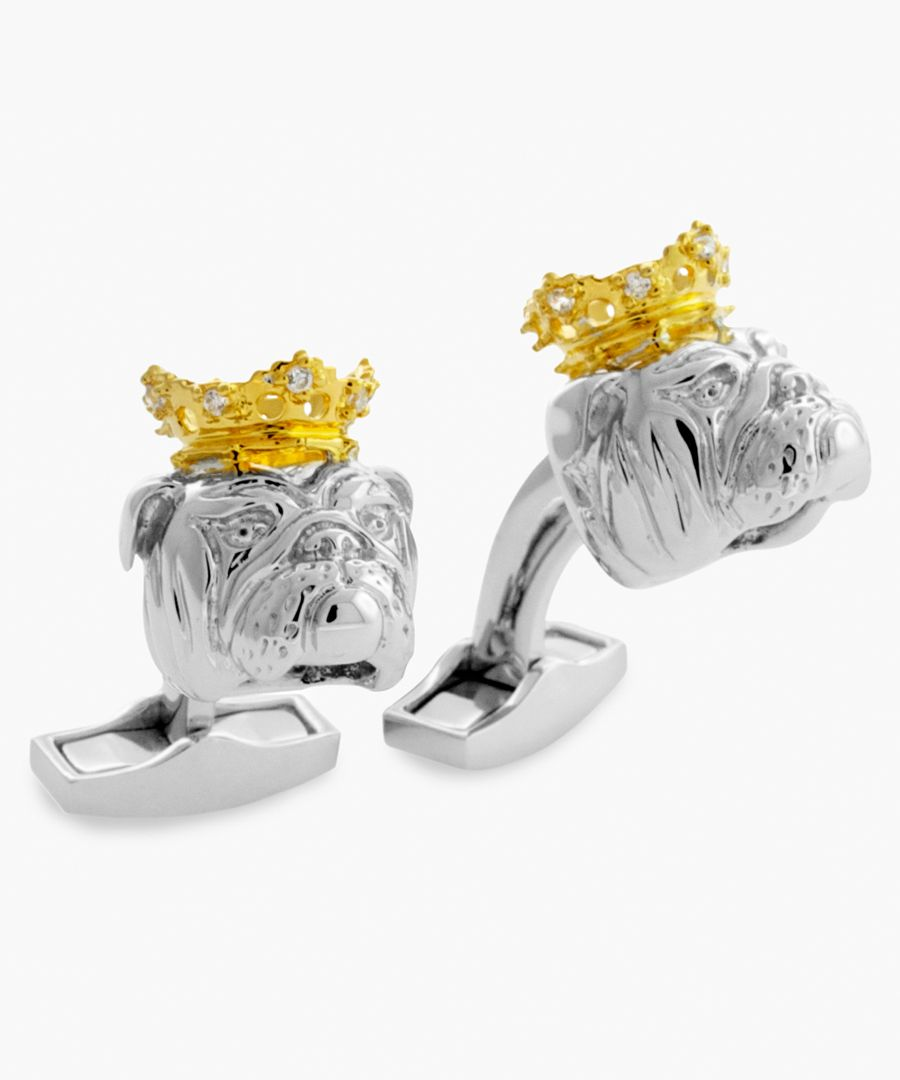 King Bull Dog silver and swarovski crystals cufflinks