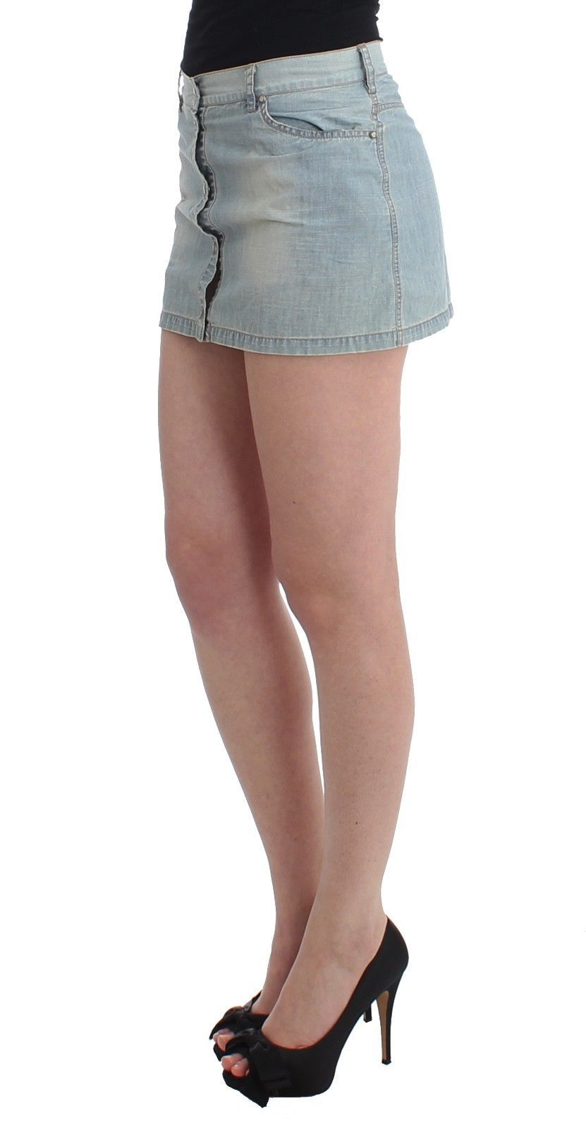 Ermanno Scervino Beachwear Blue Denim Mini Skirt A-Line
