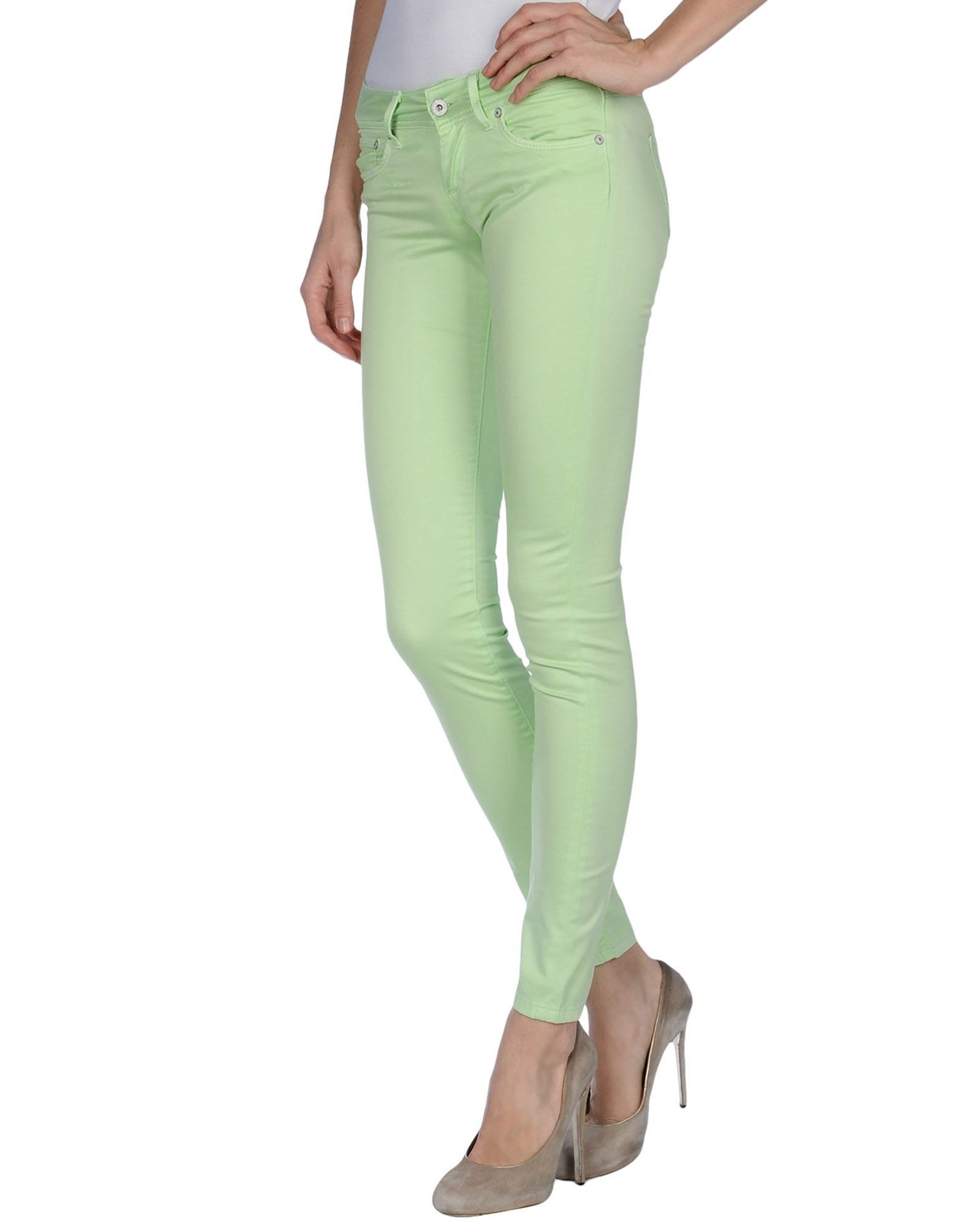 TROUSERS Pepe Jeans Light green Woman Cotton