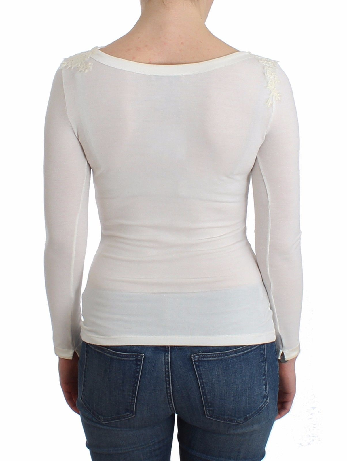 Ermanno Scervino Lingerie White Top Blouse Jumper Lace Rayon