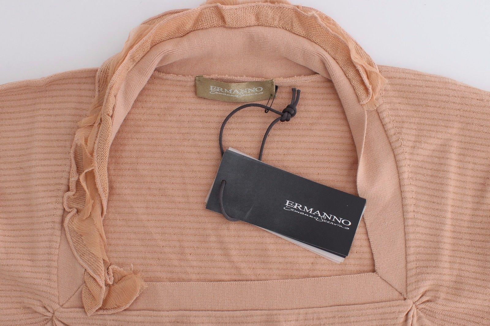 Ermanno Scervino Orange Wool Blend Striped Long Sleeve Top