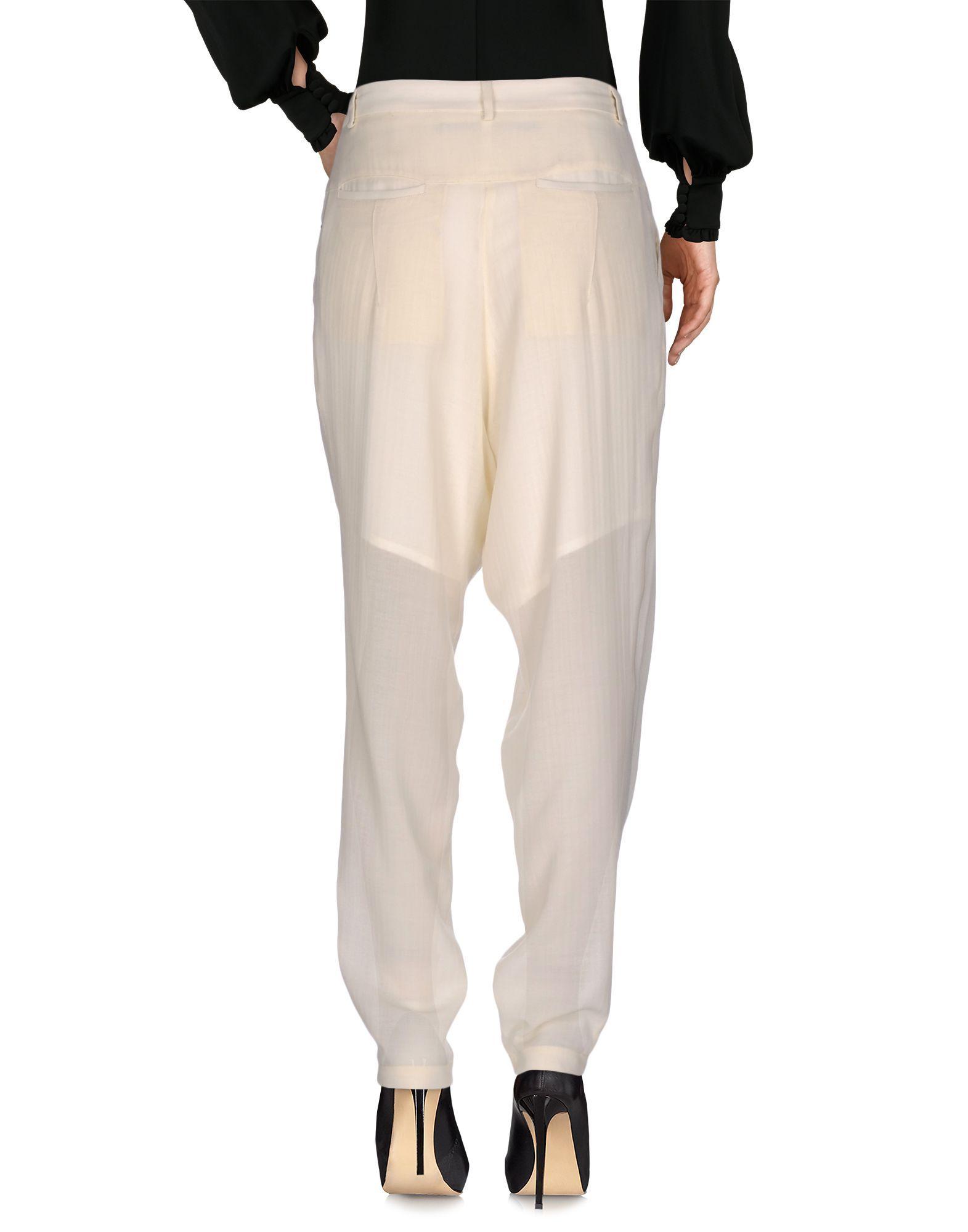 Trousers Isabel Benenato Ivory Women's Virgin Wool