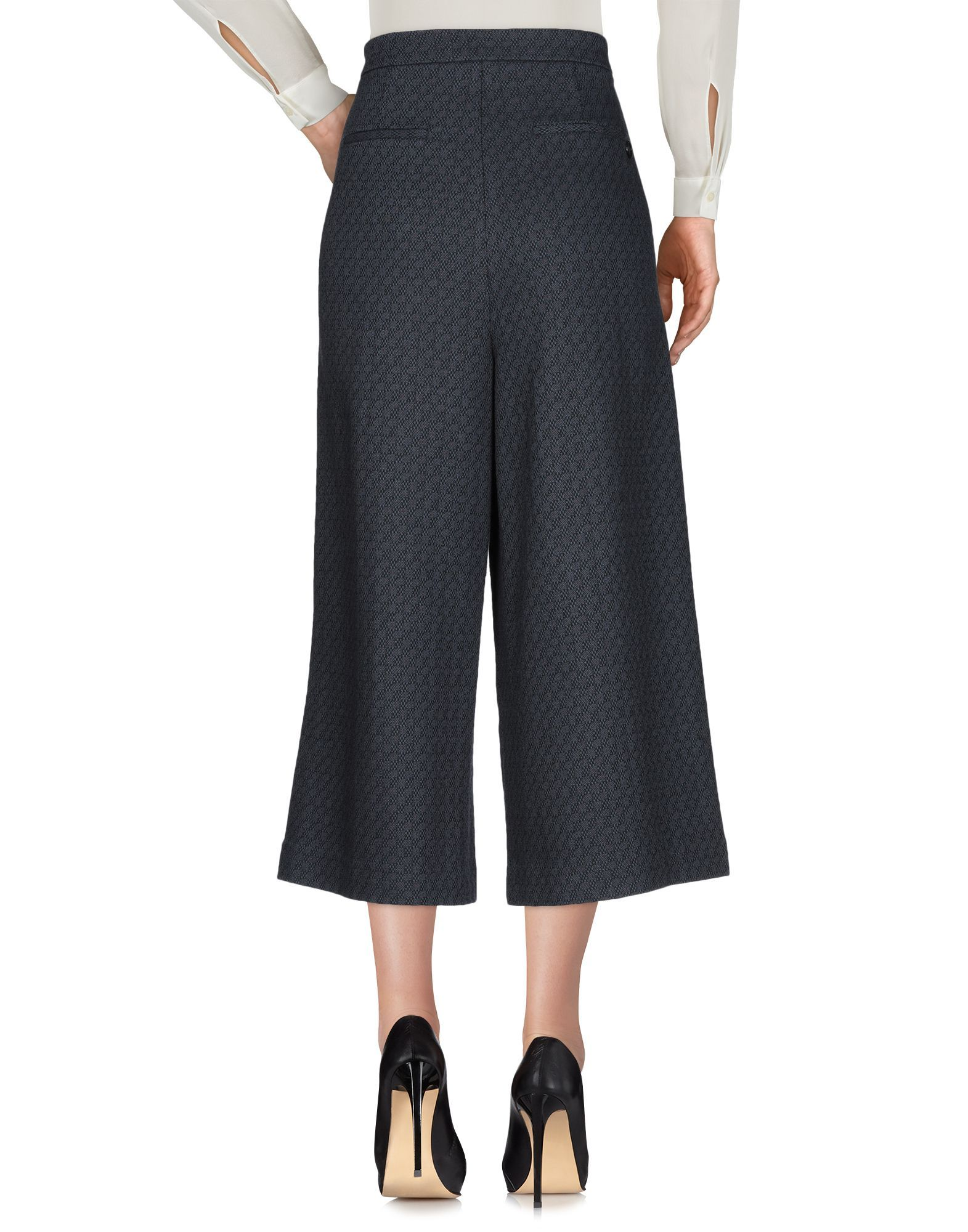 Manila Grace Grey Cotton High Waisted Wide Leg Cropped Trousers