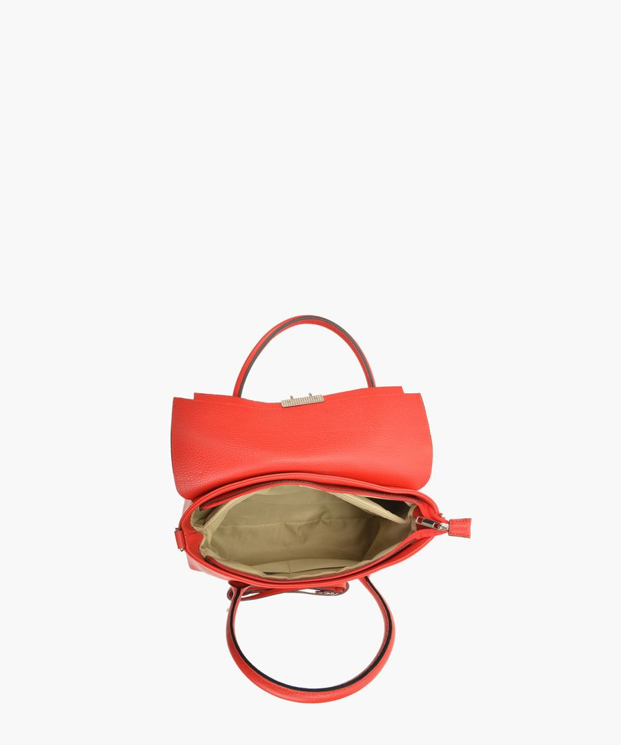 Red leather top handle bag
