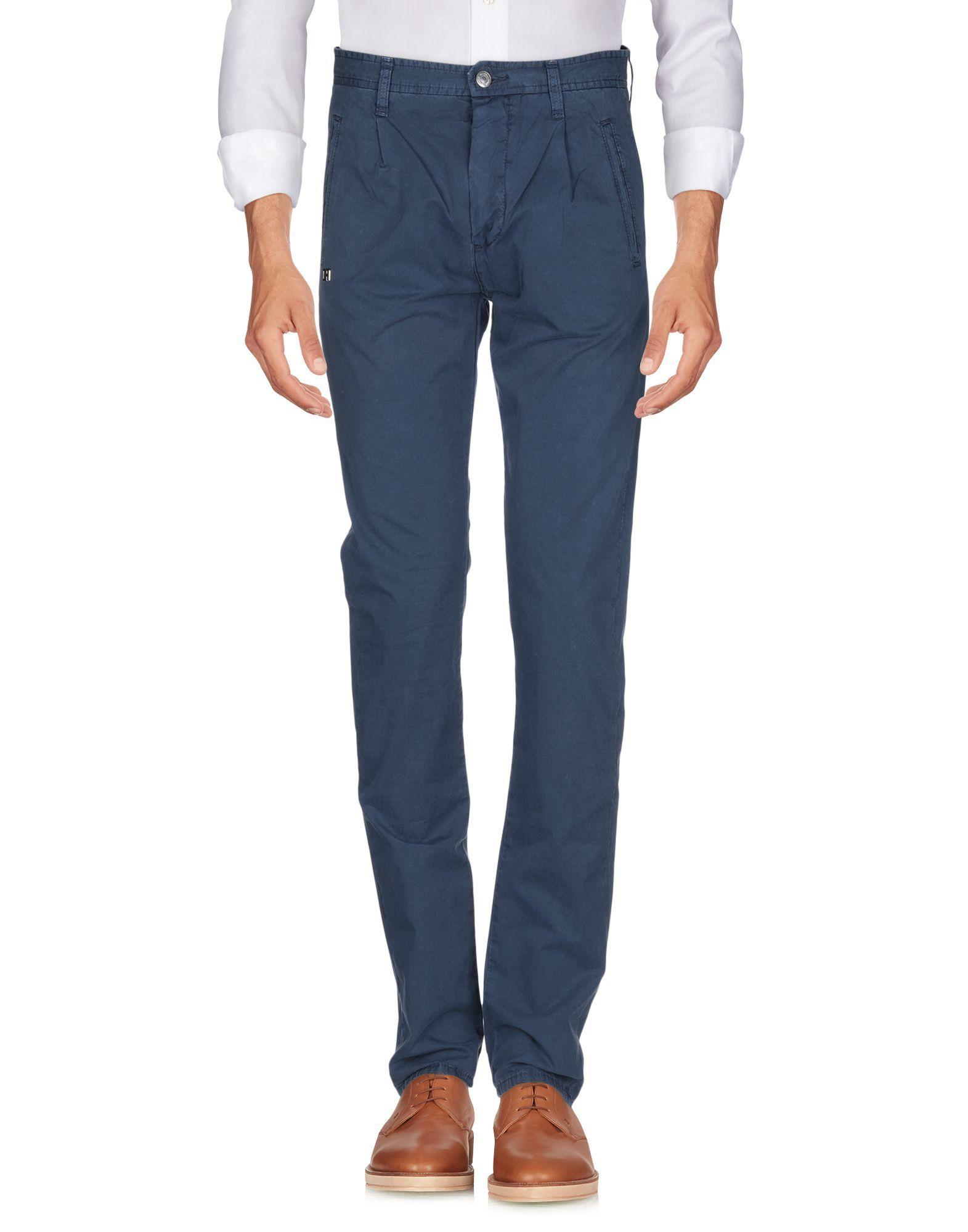 Daniele Alessandrini Dark Blue Cotton Straight Leg Trousers
