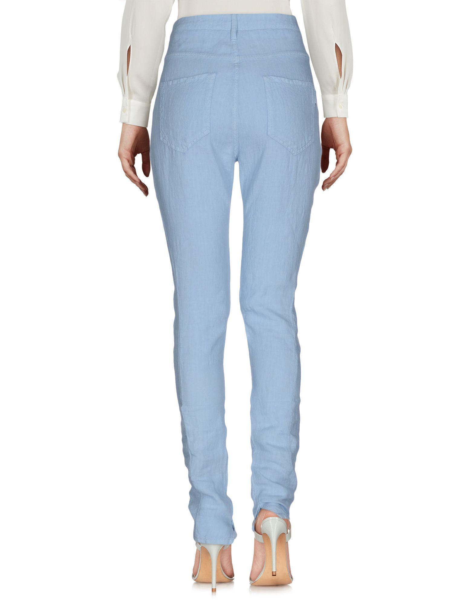 Manila Grace Sky Blue Linen Tapered Leg Trousers