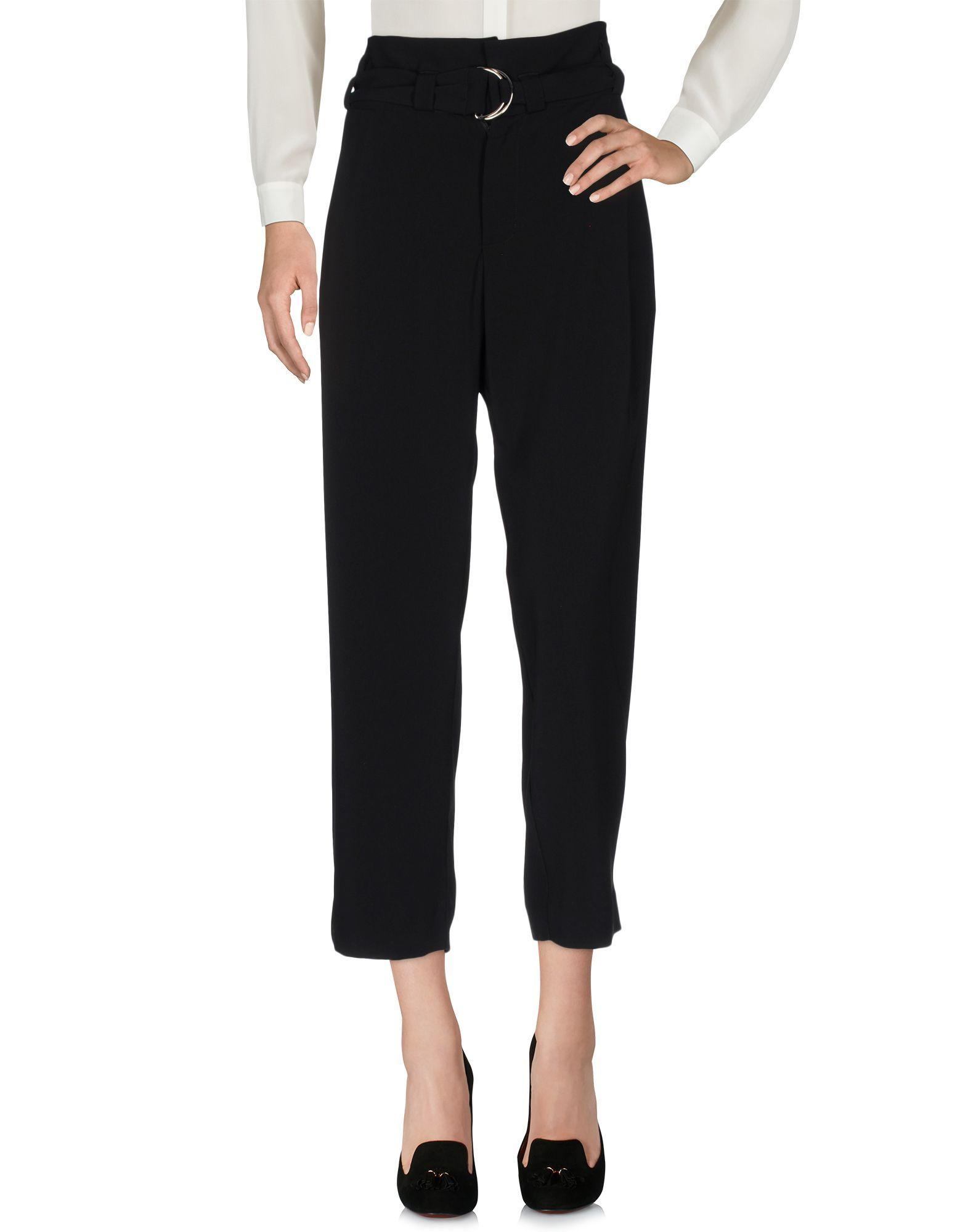 Merci Black Crepe Cropped Trousers