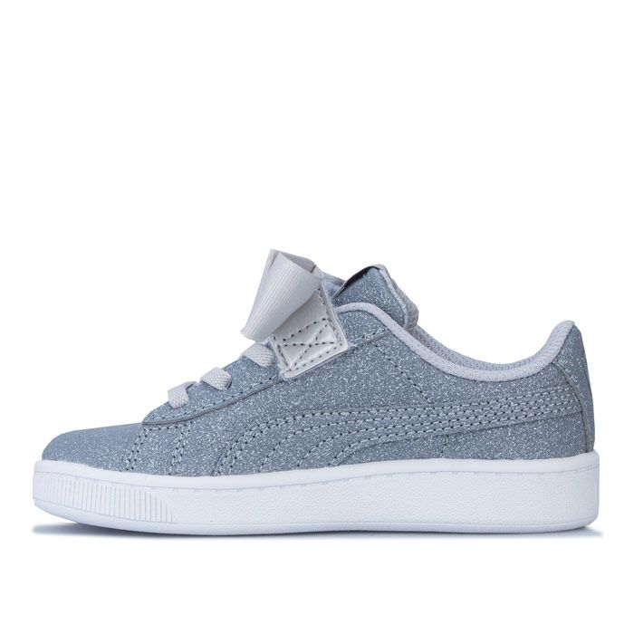 Girl's Puma Infant Vikky Ribbon Trainers in Silver