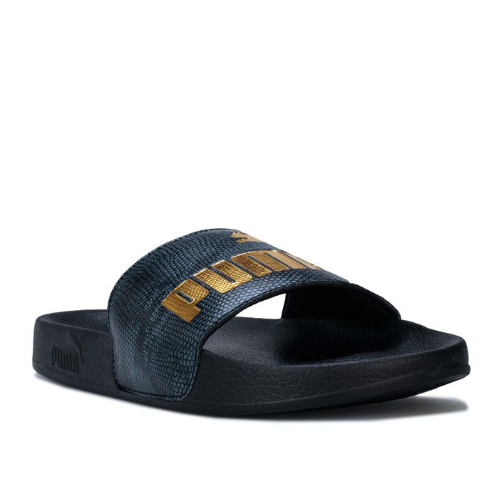 Women's Puma Leadcat Snake Lux Slides in Black Gold