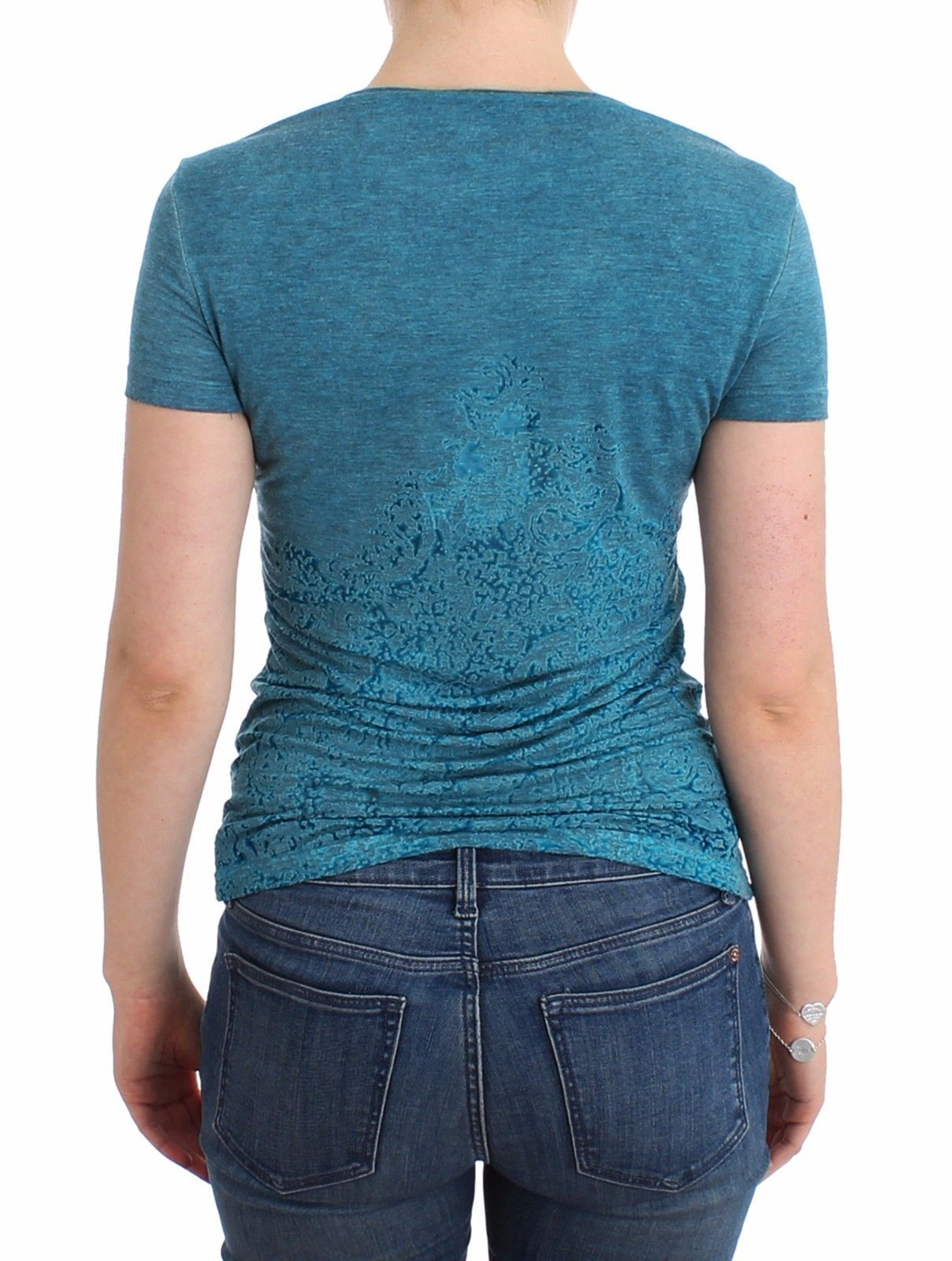 Ermanno Scervino Blue Rayon Printed T-shirt Blouse Top
