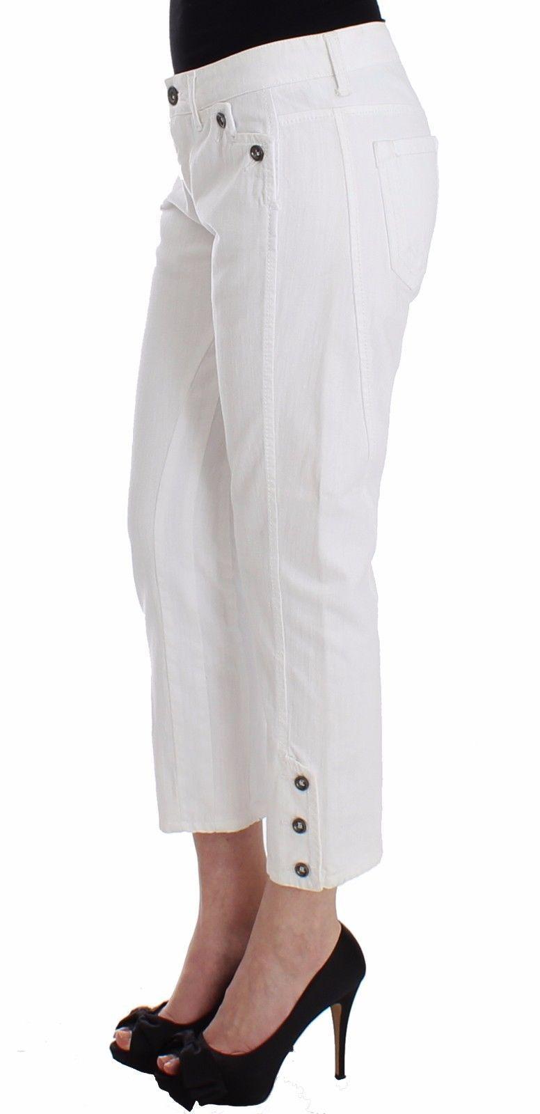 Ermanno Scervino White Cropped Jeans Denim Pants Branded Capri