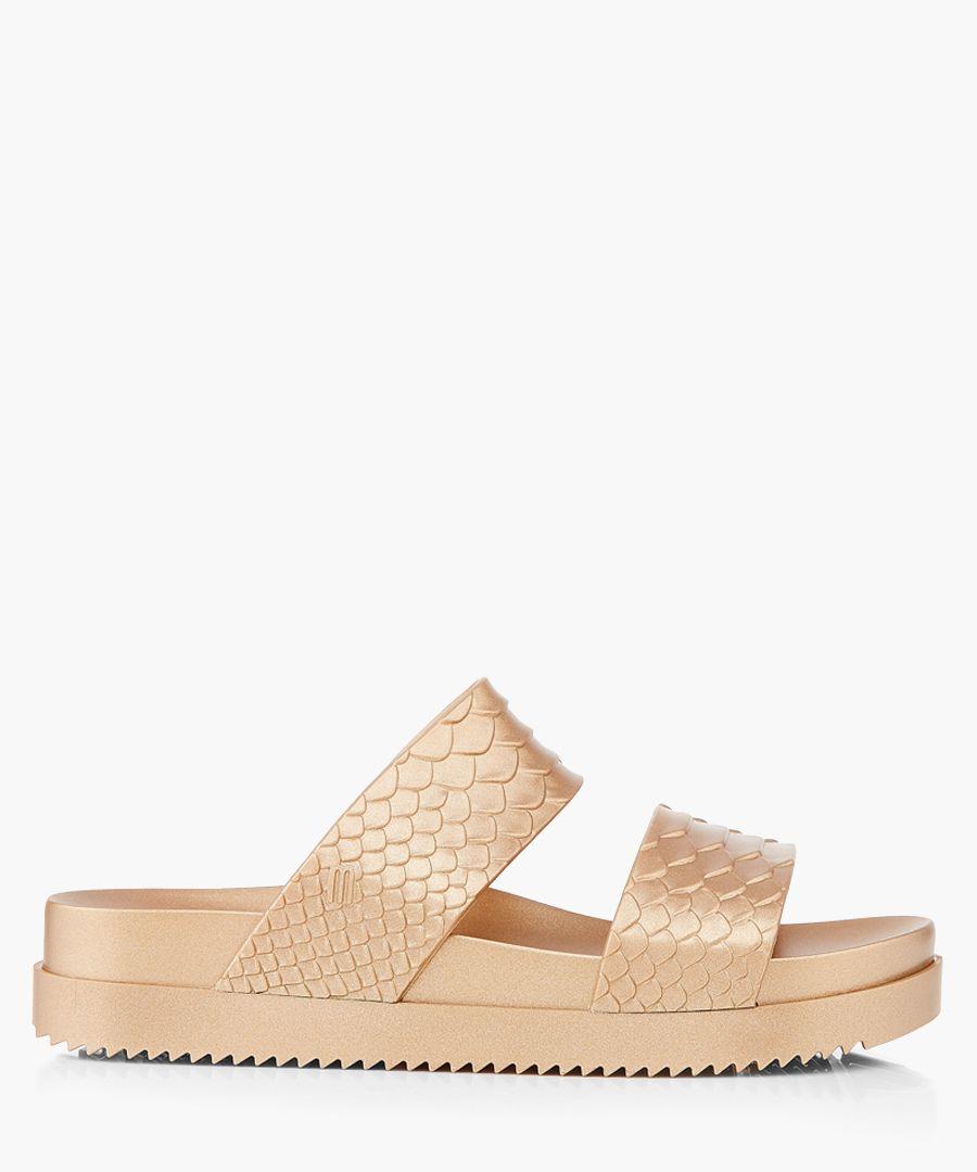 Baja gold-tone rubber sandals