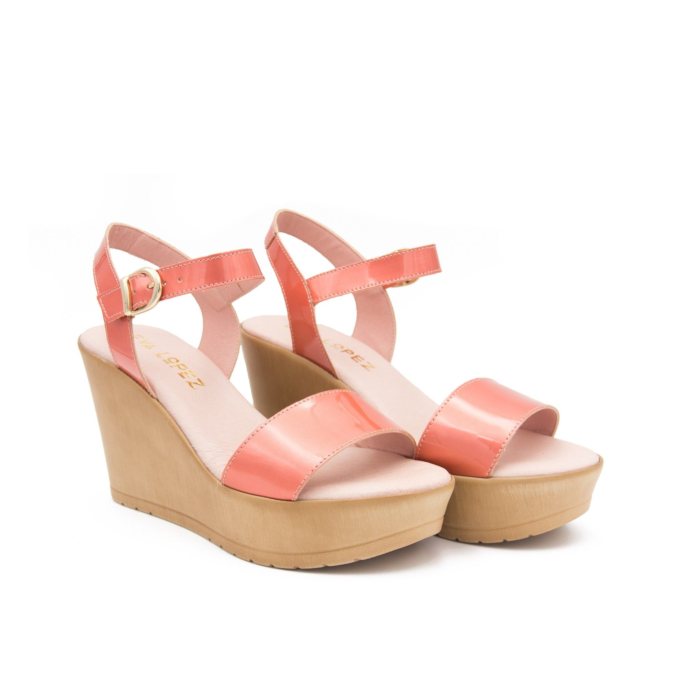 Eva Lopez Wedge sandal with braids in leather