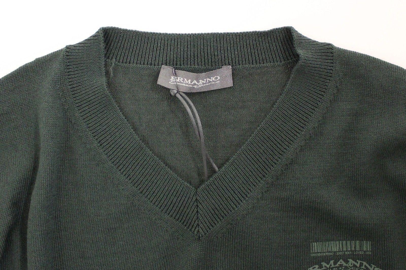 Ermanno Scervino Green Wool Blend V-neck Pullover Sweater