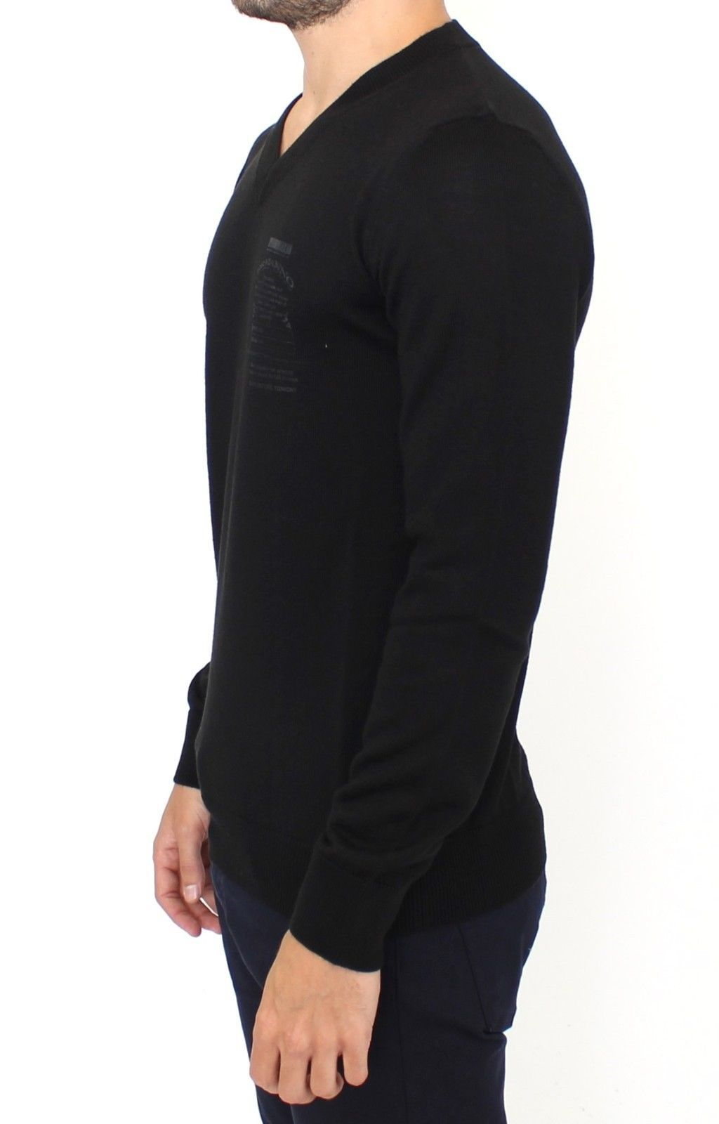 Ermanno Scervino Black Wool Blend V-neck Pullover Sweater