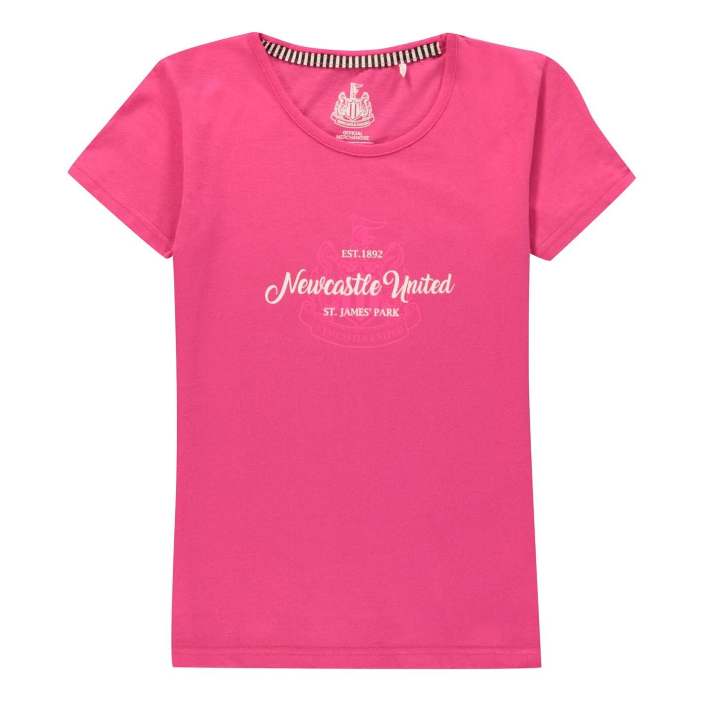 Team Kids Girls Newcastle United Crest Print T-Shirt Junior Crew Neck Tee Top