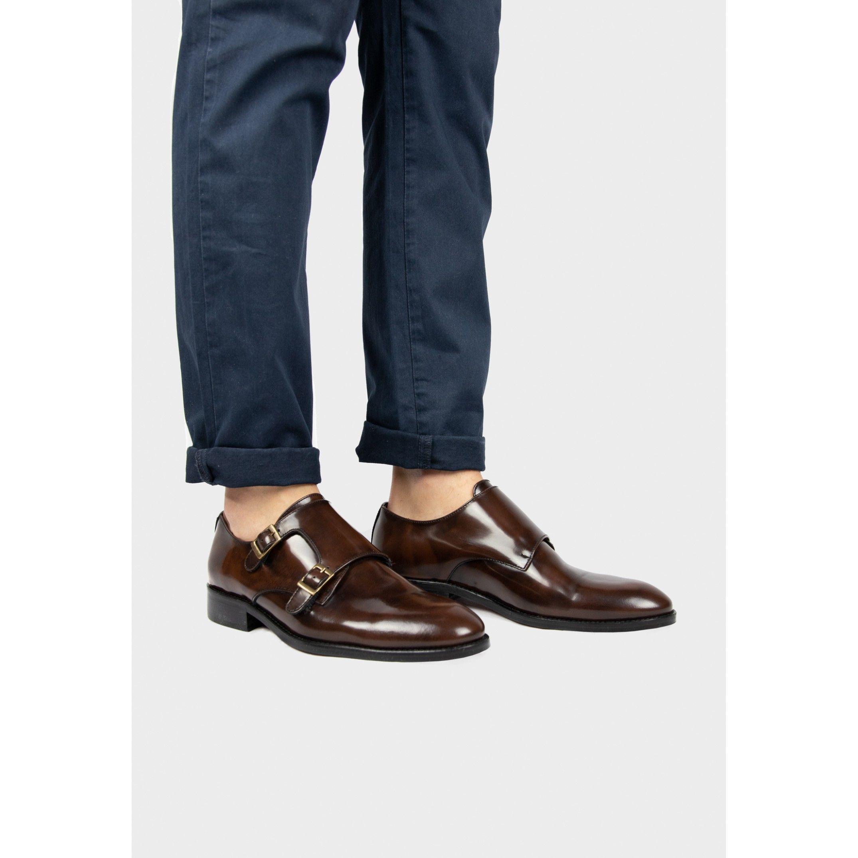 Men's Monk Men Leather Shoe in Brown