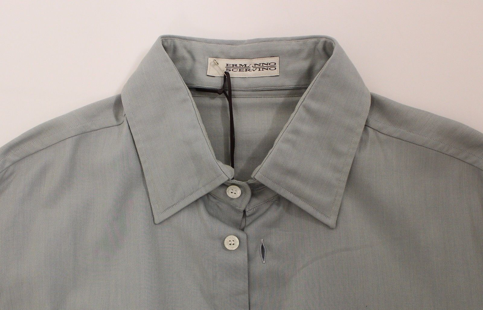Ermanno Scervino Gray Cotton Long Sleeve Casual Shirt Top