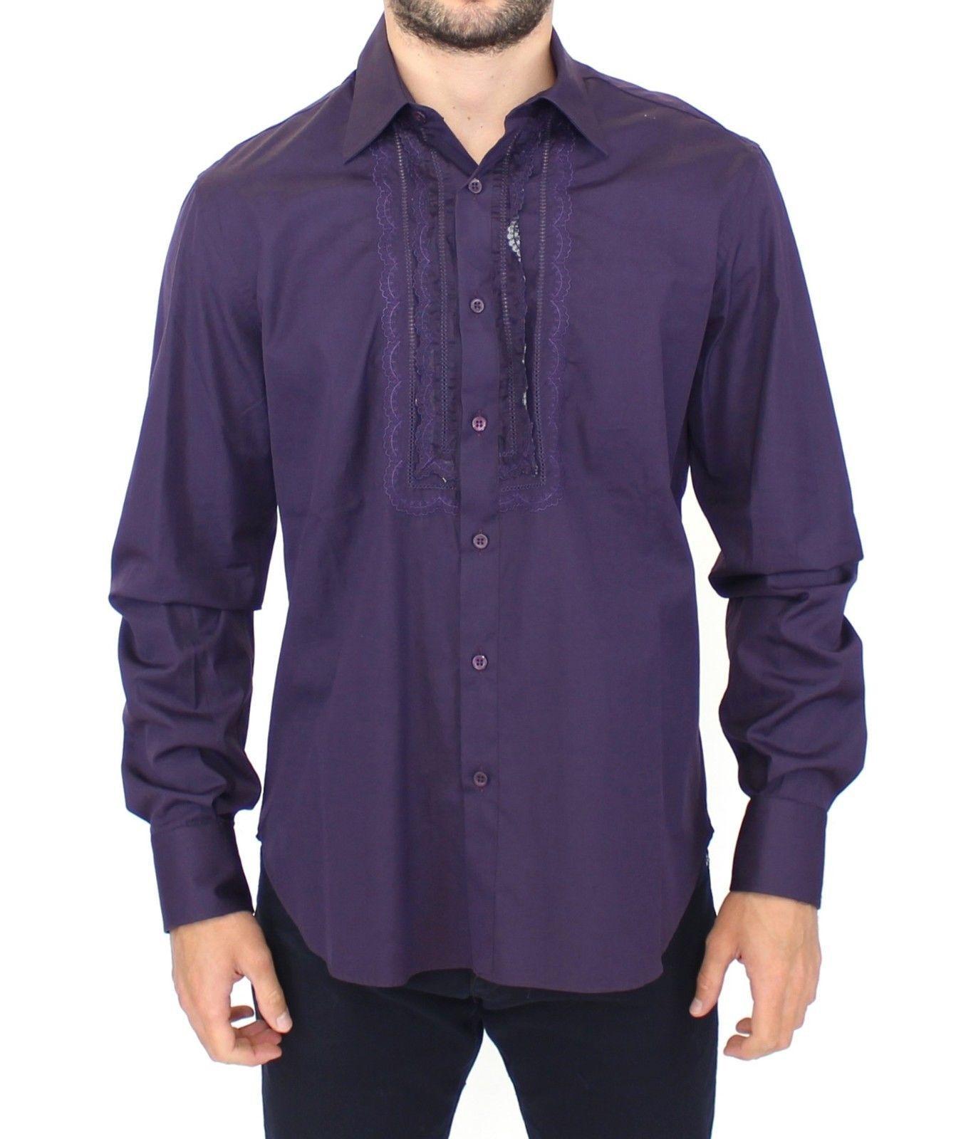 Ermanno Scervino Purple Cotton Long Sleeve Casual Shirt Top