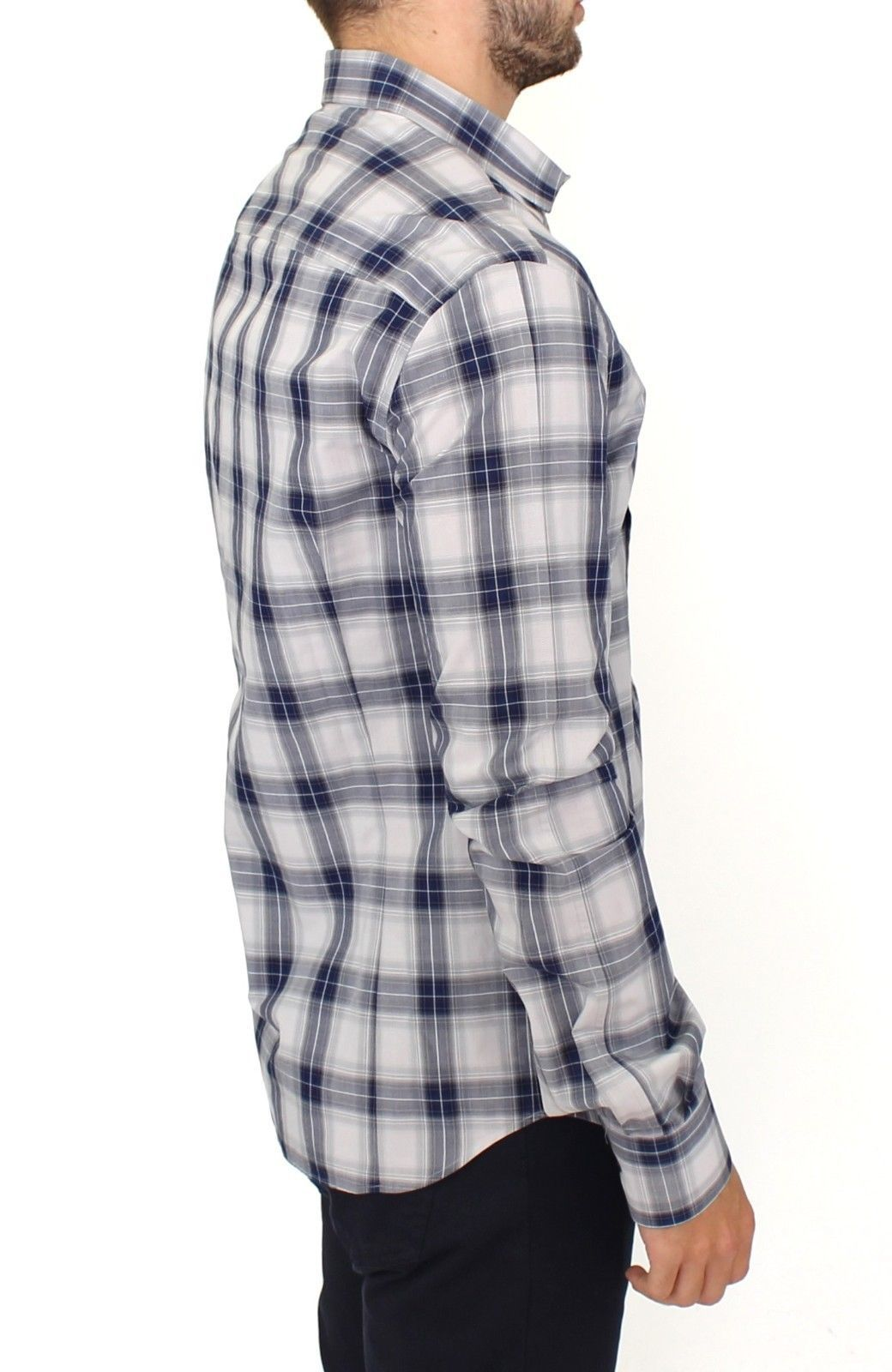 Ermanno Scervino Blue Checkered Cotton Casual Shirt Top