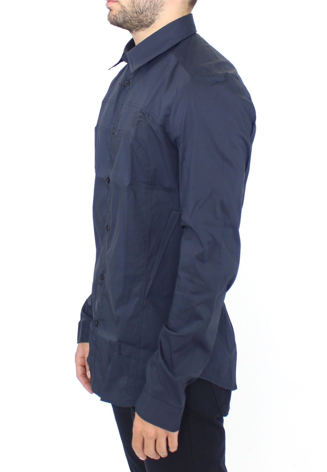 Ermanno Scervino Blue Stretch Cotton Casual Long Sleeve Shirt