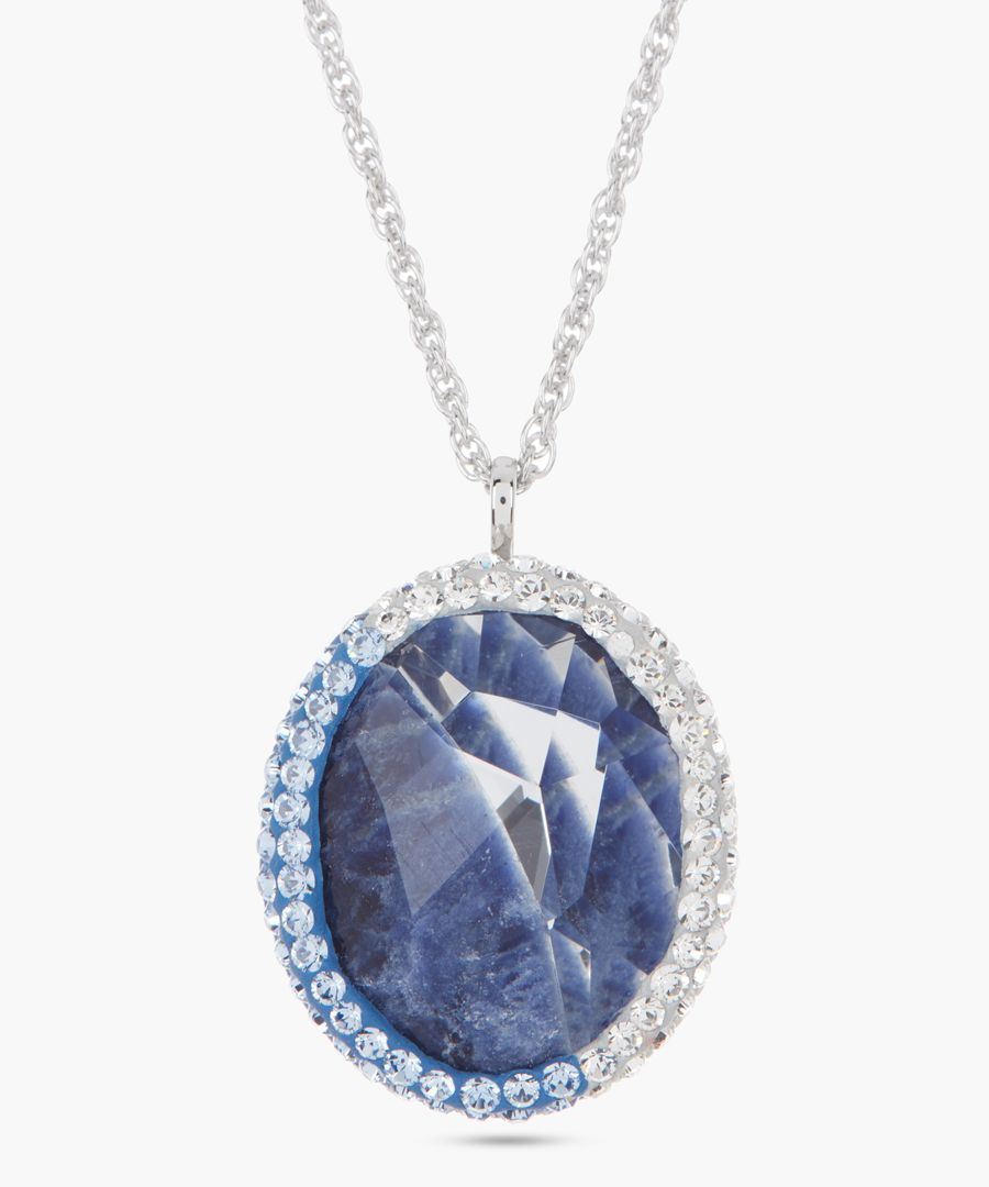 Lapis blue swarovski crystal necklace