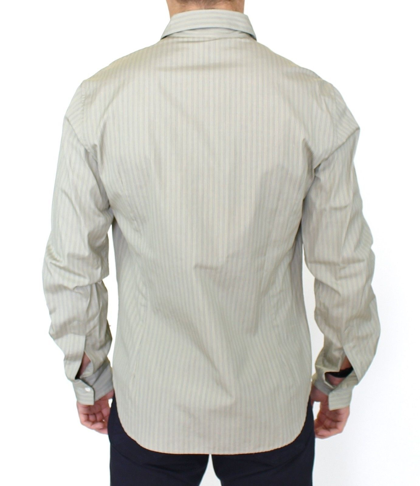Ermanno Scervino Green Striped Cotton Casual Long Sleeve Shirt