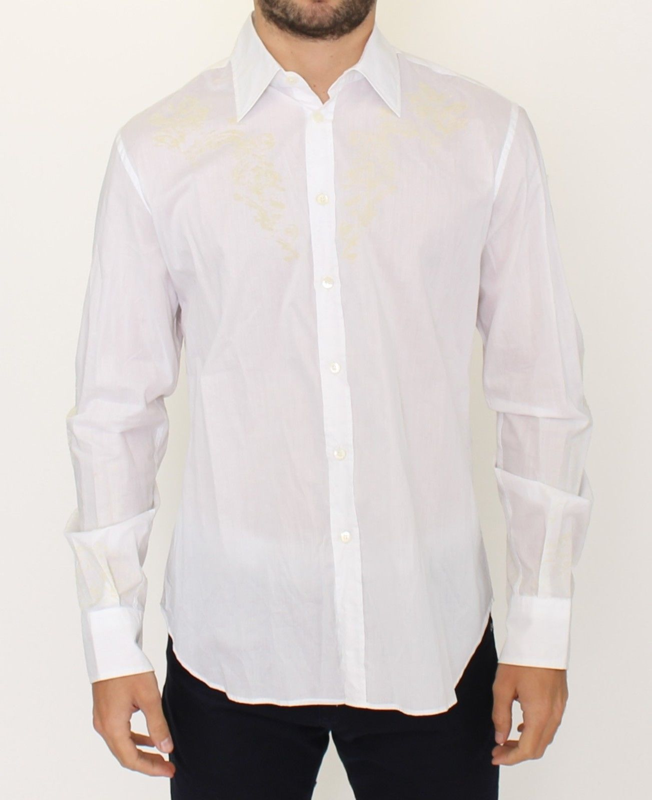 Ermanno Scervino White Cotton Long Sleeve Casual Shirt Top