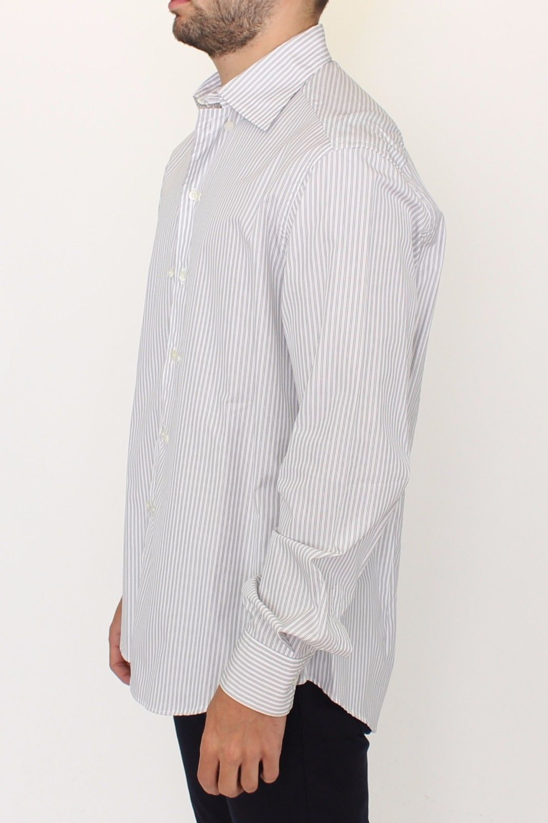 Ermanno Scervino White Gray Striped Regular Fit Casual Shirt