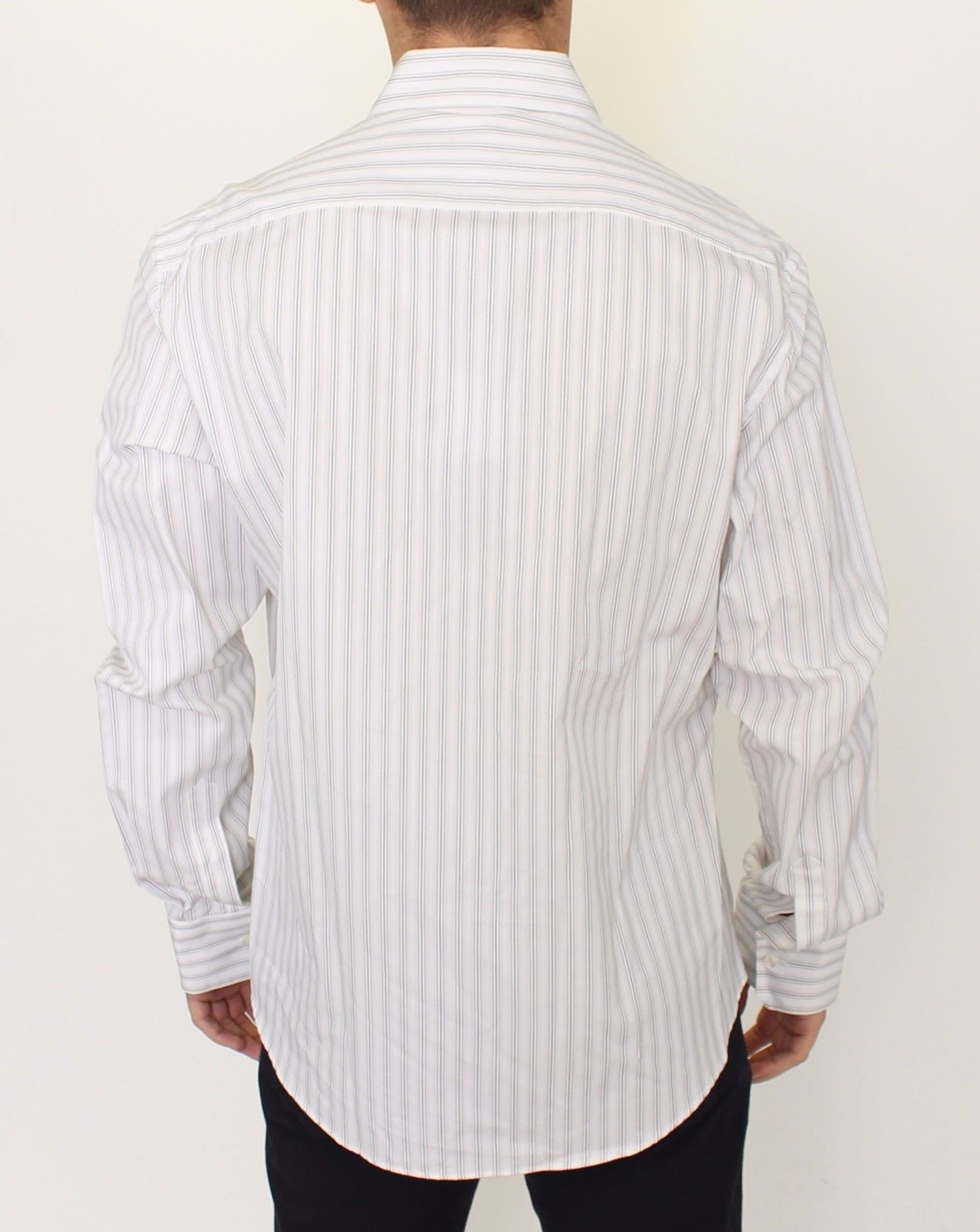 Ermanno Scervino White Black Striped Regular Fit Casual Shirt