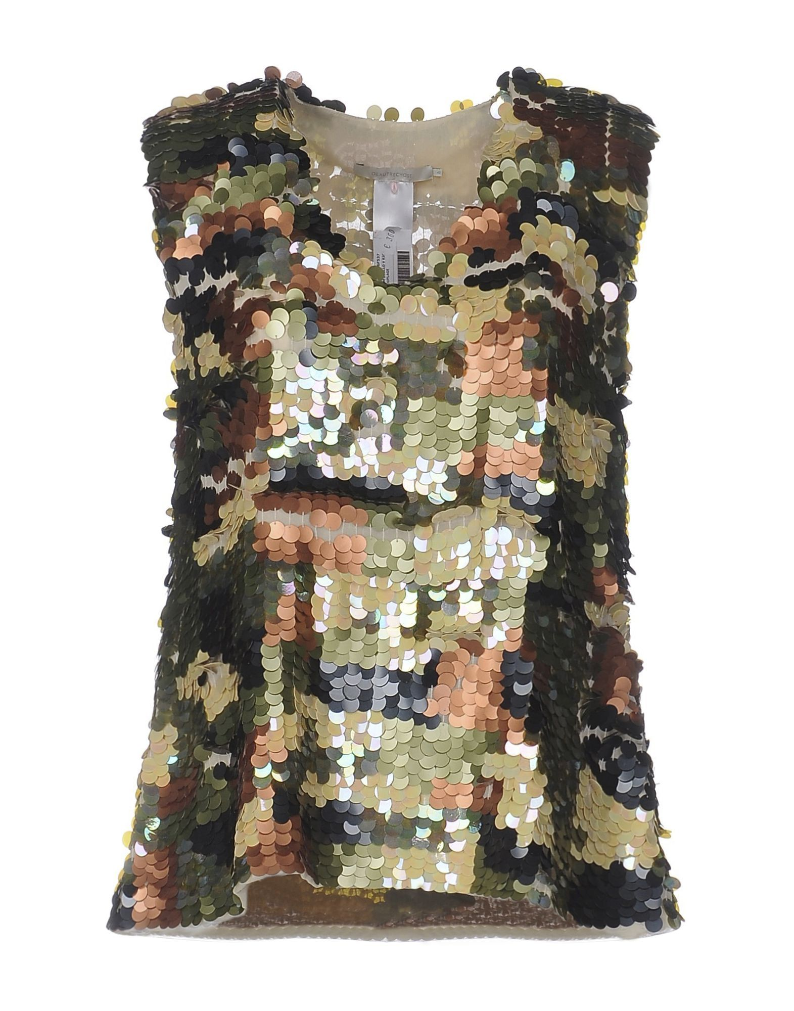 L' Autre Chose Military Green Sleeveless Sequin Blouse